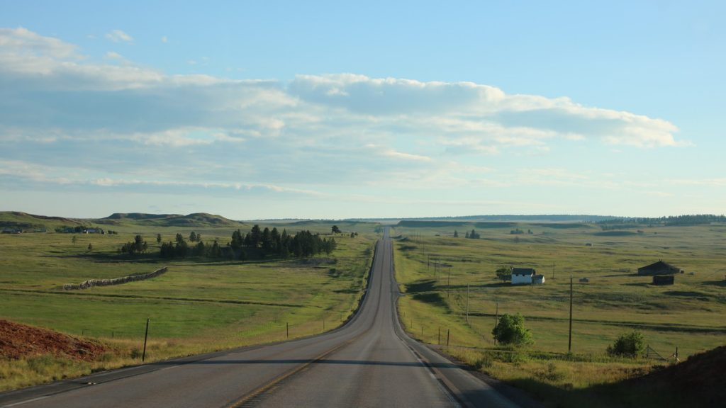 Early morning on the road in South Dakoto