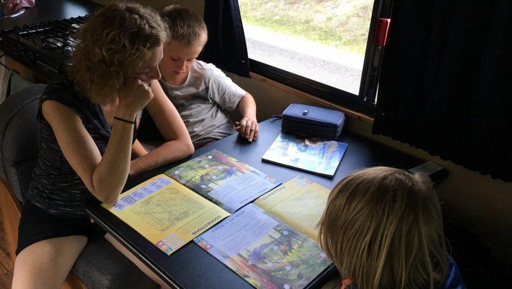 Working on junior ranger task books