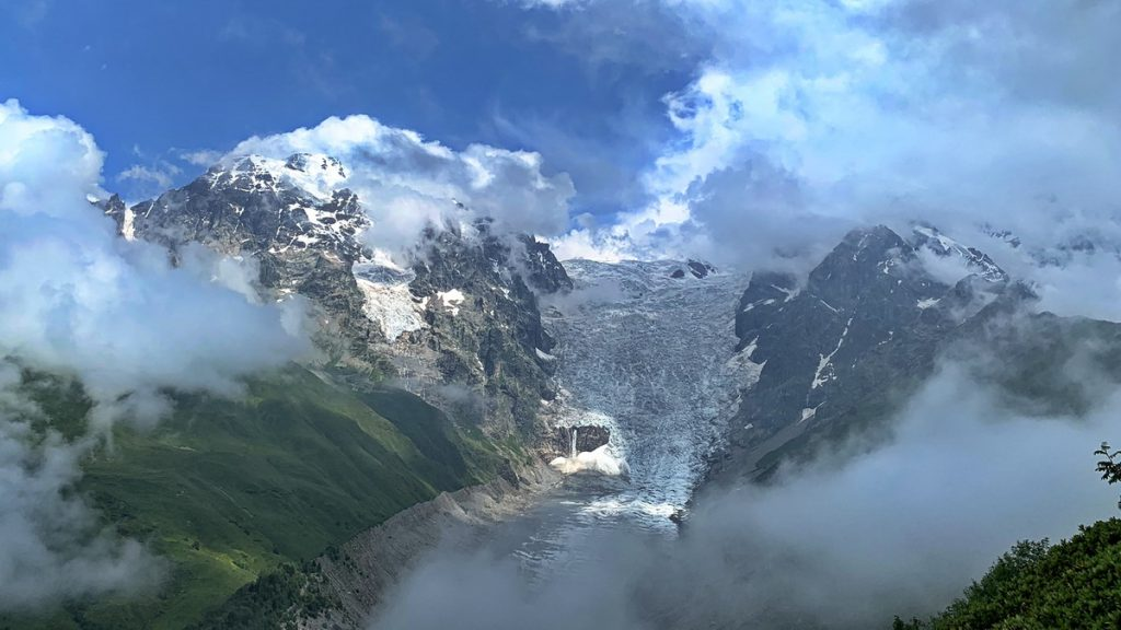Adishi glacier at the Russian border