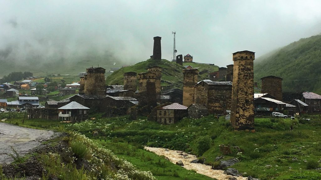 We ended the Four-day village-to-village hike from Mestia to Ushguli in Georgia in Ushguli in heavy rain