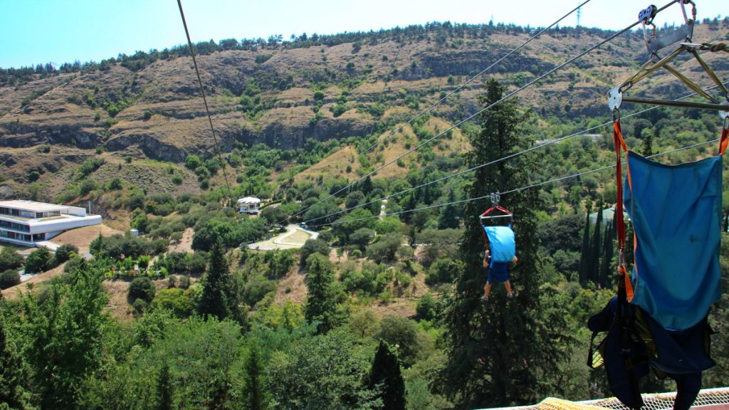 Zip-lining in Tblisi