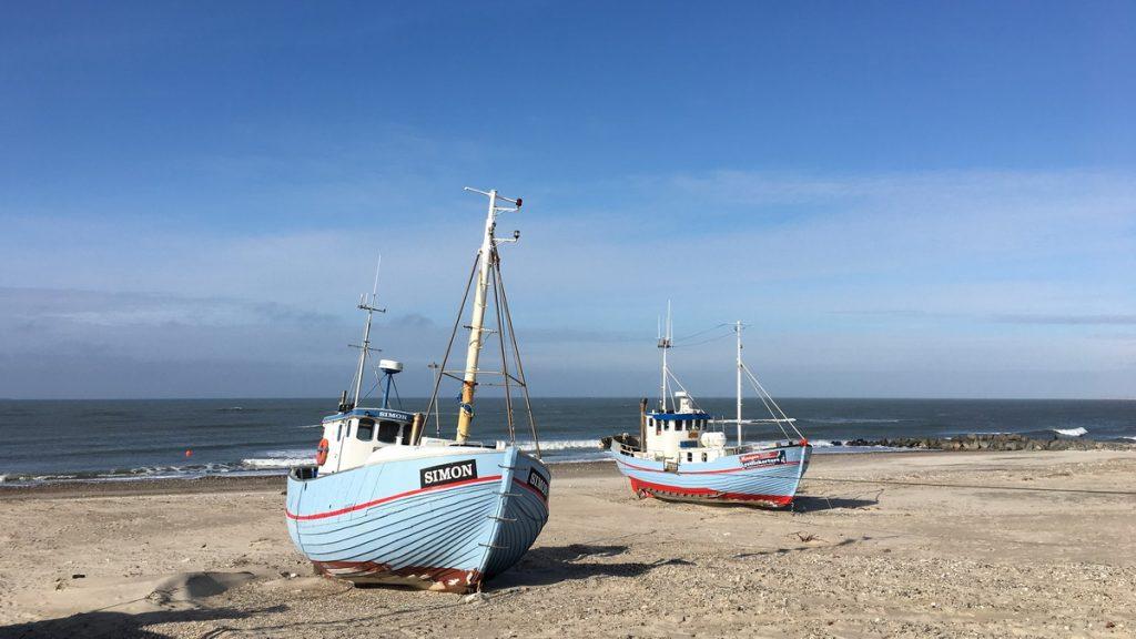 Coastal fishing boats at Nørre Vorupør